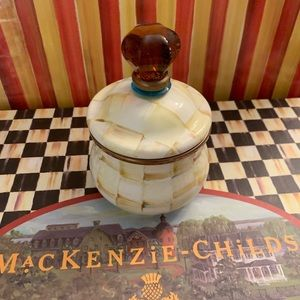 MacKenzie Childs Parchment sugar lid bowl